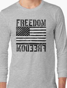 Freedom Black and White US Flag  Long Sleeve T-Shirt