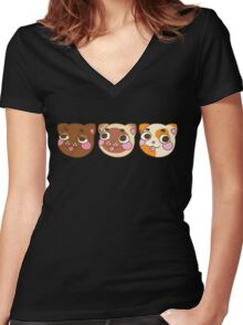 Derpy Cats Women's Fitted V-Neck T-Shirt