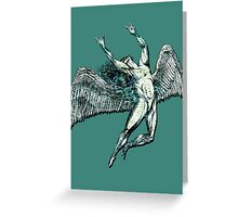 ICARUS THROWS THE HORNS - lightning bolts Greeting Card