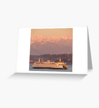 Ferry Tacoma with Olympic Mountains during sunrise Greeting Card