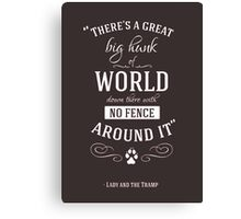 Theres a great big hunk of world down there Canvas Print