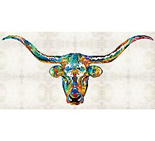 Colorful Longhorn Art By Sharon Cummings Photographic Print