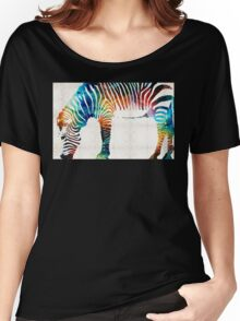 Colorful Zebra Art by Sharon Cummings Women's Relaxed Fit T-Shirt