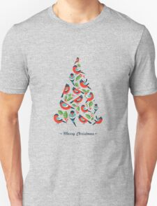 Birds make Christmas tree with holy leaf T-Shirt