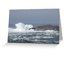 Waves crashing into rocks Greeting Card