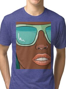 Sensual woman face with mint glasses Tri-blend T-Shirt