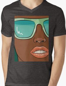 Sensual woman face with mint glasses Mens V-Neck T-Shirt