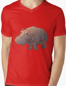 Cute cartoon hippo Mens V-Neck T-Shirt