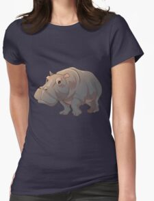 Cute cartoon hippo Womens Fitted T-Shirt
