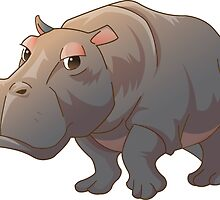 Cute cartoon hippo by Olga Chetverikova