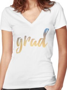 Grad | yellow brush type Women's Fitted V-Neck T-Shirt