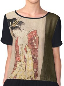 Reproduction Vintage Japanese painting  Chiffon Top