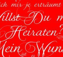 WILLST DU MICH HEIRATEN - LIEBE - LOVE - AMORE - HEIRATSANTRAG Sticker