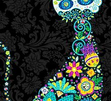 Colorful Floral Cat by artonwear
