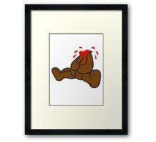 dripping splatter blood disgusting head torn beheaded dead murder headless teddy bear sitting horror halloween evil Framed Print