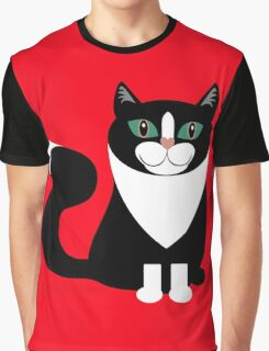 TUXEDO CAT ON RED BACKGROUND Graphic T-Shirt