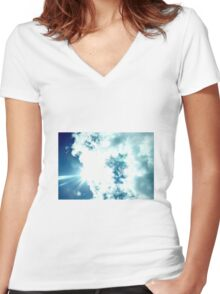 sun in the clouds Women's Fitted V-Neck T-Shirt