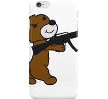 soldier machine gun shoot weapon war evil thug shoot target killer teddy bear iPhone Case/Skin