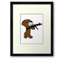 soldier machine gun shoot weapon war evil thug shoot target killer teddy bear Framed Print