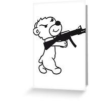 soldier machine gun shoot weapon war evil thug shoot target killer teddy bear Greeting Card