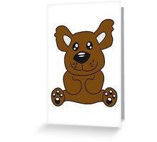 Sitting teddy bear comic cartoon sweet cute Greeting Card