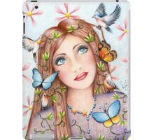 Woman With Birds and Butterflies iPad Case/Skin