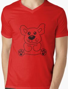 Sitting teddy bear comic cartoon sweet cute Mens V-Neck T-Shirt