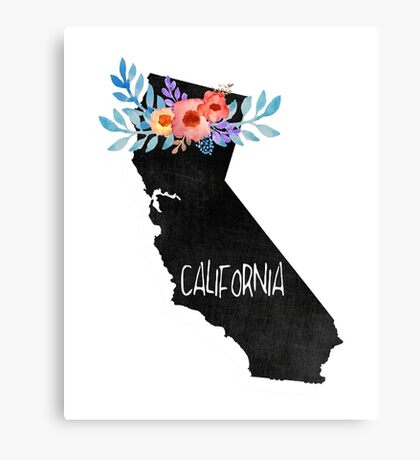 California Map Chalkboard Drawing  Canvas Print