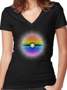 Catch the rainbow! Women's Fitted V-Neck T-Shirt