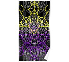 Purple Yellow Geometric flowers Poster