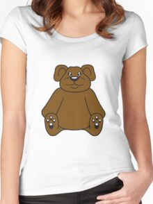 sitting cute little teddy thick sweet cuddly comic cartoon Women's Fitted Scoop T-Shirt