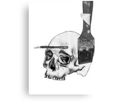 Greyscale Brush With Death Canvas Print