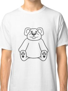 sitting cute little teddy thick sweet cuddly comic cartoon Classic T-Shirt