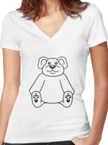 sitting cute little teddy thick sweet cuddly comic cartoon Women's Fitted V-Neck T-Shirt
