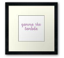 Gamma Rho Lambda Framed Print