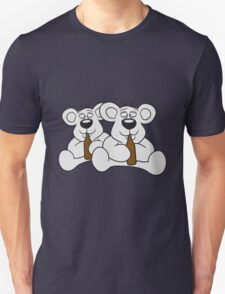 sitting 2 team crew buddies drunk thirsty cola drink alcohol party bottle beer drinking polar teddy bear funny Unisex T-Shirt