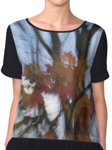 Abstract Impressions of Fall - Maple Leaves and Bare Branches Chiffon Top