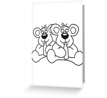 sitting 2 team crew buddies drunk thirsty cola drink alcohol party bottle beer drinking polar teddy bear funny Greeting Card