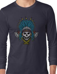 Indian Skull Head dress Long Sleeve T-Shirt