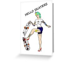 Hello Skaters Psychobilly Girl Pin Up Greeting Card