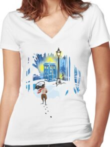 The Lion, The Doctor, and the Tardis Women's Fitted V-Neck T-Shirt