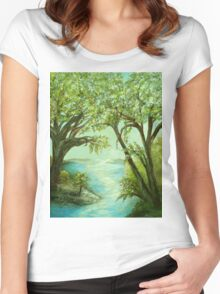 View from the River Bank Women's Fitted Scoop T-Shirt