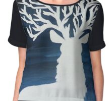 White Stag with Tree Antlers Chiffon Top