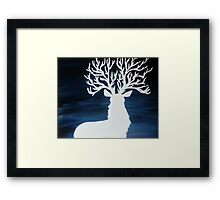 White Stag with Tree Antlers Framed Print