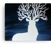 White Stag with Tree Antlers Canvas Print
