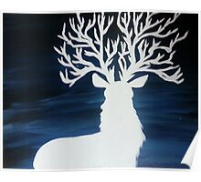 White Stag with Tree Antlers Poster