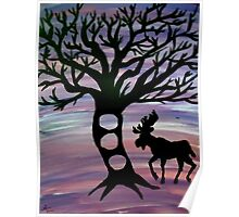 Moose and Tree Silhouette Poster