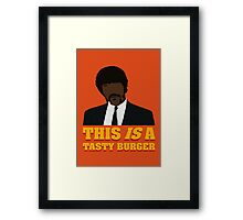 This is a tasty burger. Framed Print