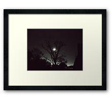 Night, moon, and tree Framed Print
