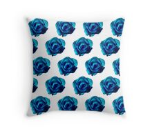 Dark blue roses on a white background Throw Pillow